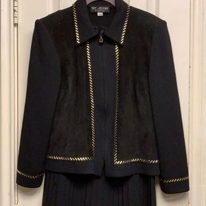 St John classic blk suede and knit cardigan sz 10